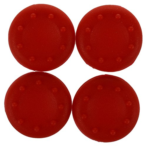 TOOGOO(R) 4 Pieces Thumb Grips Silicone Cover Case Dot Pattern for Sony Playstation PS2 PS3 PS4 Xbox One Xbox 360 Controller Red For Sale