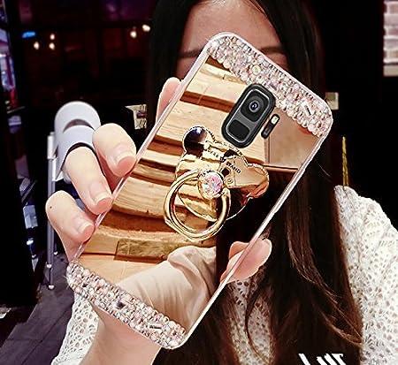 Felfy Kompatibel mit Galaxy S9 H/ülle Spiegel HandyH/ülle Glitzer Gl/änzend Kristall Strass Diamant Spiegel SchutzH/ülle mit B/är Ring Fingerhalterung St/änder Handy H/ülle Tasche Case Cover Etui Bumper