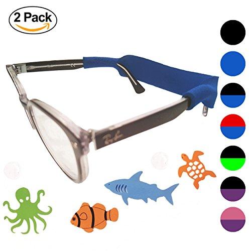 Baby Glasses Strap 2pk with Bonus Deep Sea Adventure Stickers (Blue + Black)