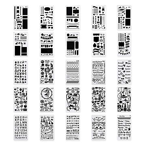 LIDAGO 25 Pieces Journal Stencil DIY Diary Drawing Template Plastic Planner Templates, Diary, Scrapbook,Includes Drawing Stencils, Icons, Charts, Shapes, Much More. ()
