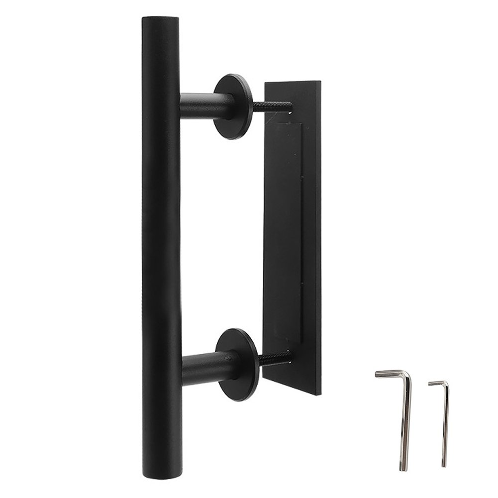 "12"" Barn Door Handle Gate Pull and Flush Hardware Black Handles Kit Mount Screws Included"