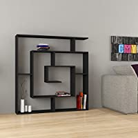 Maze Modern Unique Best Selling 6-Shelf Bookcase Black h:50.8 w:49.2 d:8.6