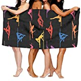 WOOD-RAIN Pole Dance Colors Polyester Microfiber Towel Bath Towel Beach Towels Travel Towel Great For Beach Trips, Pool, Swimming And Camping 31''x51''