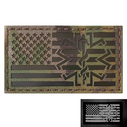 Multicam Infrared IR USA American Flag EMS Star of Life Medic Paramedic 3.5x2 Tactical Morale Hook-and-Loop Patch