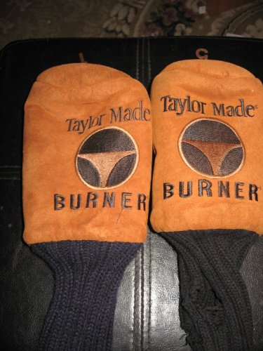 TWO GOLF CLUB HEADCOVERS; TAYLOR MADE; BURNERS; # 1 AND 5 (SUEDE LIKE)