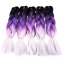 Silike Ombre Jumbo Braiding Hair Extension (5 Pieces Black/Purple/Grey) 24'' Afro Jumbo Braid