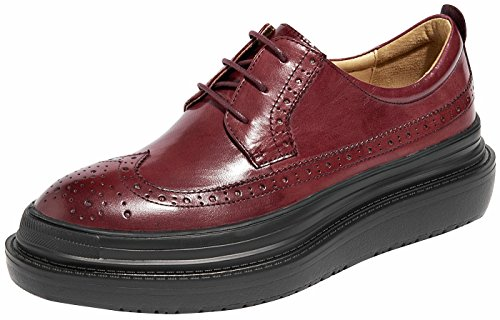 U-lite Burgundy Perforated Lace-up Wingtip Leather Flat Oxfords Vintage Oxford shoes Women BurPlat 5.5
