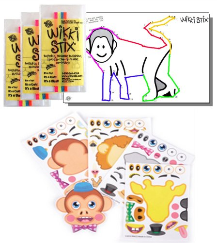 Zoo Animal Stickers & Wikki Stix Party Favor Pack - 24 Pc (12 Make-a-zoo Safari Animal Sticker Sheets & 12 Pkgs of Jungle Animal Wikki - Zoo Bendable