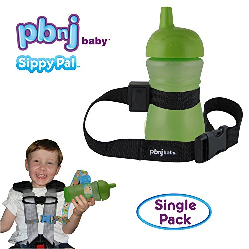 PBnJ Baby SippyPal Sippy Cup Strap Holder Leash Tether (1 Black Solid)