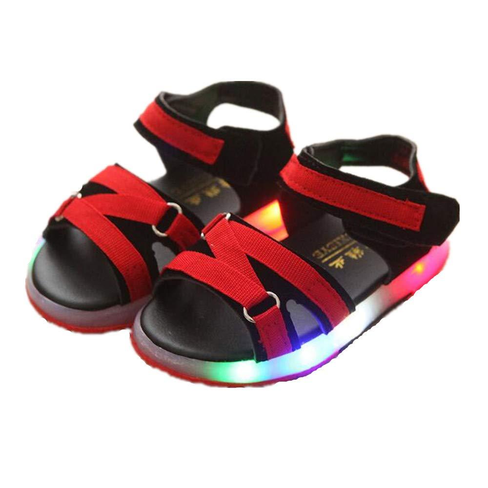 BININBOX Kids Summer Beach Toddler Sandals Light up Shoes for Boys Girls (9 M US Toddler, Red)