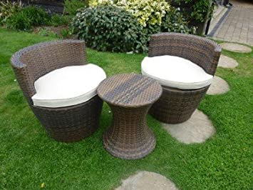 Rattan Garden Furniture Black Stacking Balcony Set