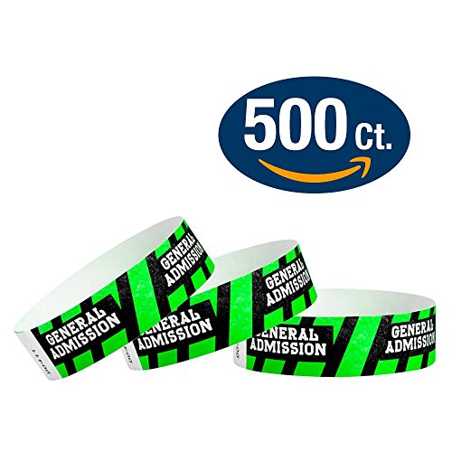 "WristCo General Admission 3/4"" Tyvek Wristbands - 500 Pack Paper Wristbands For Events"