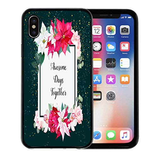 (Emvency Phone Case for Apple iPhone Xs Case/iPhone X Case,Christmas Poinsettia Emerald Burgundy Red Peony Pink Roses Soft Rubber Border Decorative, Black)