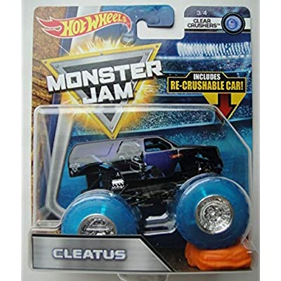 Hot Wheels Monster JAM 1:64 Scale Clear Crushers, Cleatus 3/4 Includes RE-Crushable CAR: Toys & Games