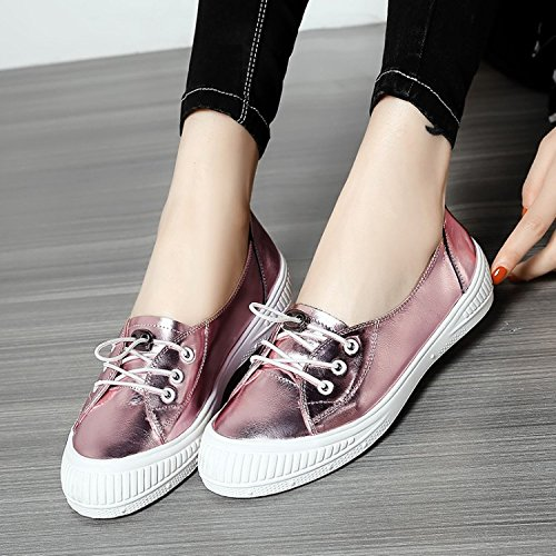 Pour Casual MUYII à Shoes Pink Flats Femmes Lacets Mocassins PqPSwtf