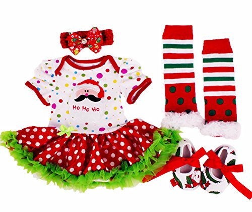 DQdq Infant Baby Girls Tutu Romper Dress Xmas 4pcs Clothing Sets Santa Clause,White Dot,6-9 (Santa Clause Dress)