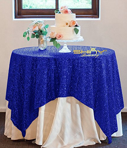 Royal Blue Sequin (50''x50'' Square Royal Blue Sequin Tablecloth Select Your Color & Size Can Be Available ! Sequin Overlays, Runners, Gatsby Wedding, Glam Wedding Decor, Vintage Weddings)