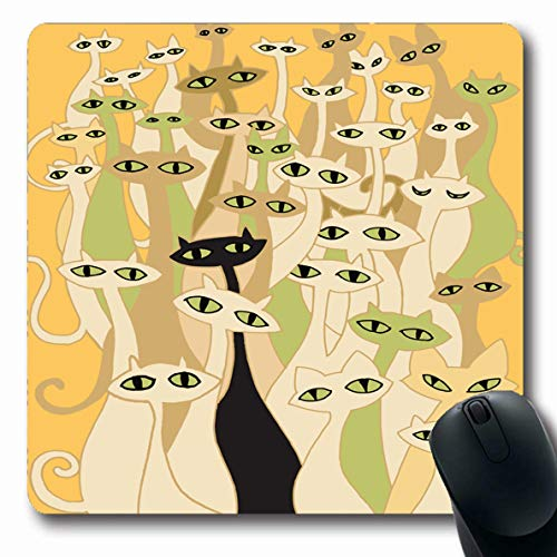 Ahawoso Mousepad Oblong 7.9x9.8 Inches Orange Celebration Hand Drawing Doodle Cats Grave Evil Group Flat Bizarre Red Cool Design Office Computer Laptop Notebook Mouse Pad,Non-Slip Rubber