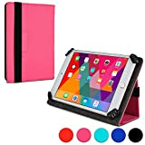 Universal 7-8'' Tablet folio case, COOPER INFINITE UNIVERSAL Business School Travel Carrying Portfolio Case Protective Cover Folio with Built-in Stand for 7-8'' Tablets (Pink)