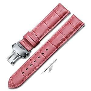 Leather Watch Band Women Men Watch Strap Pink Watch Straps Deployment Buckle 16mm 18mm 20mm