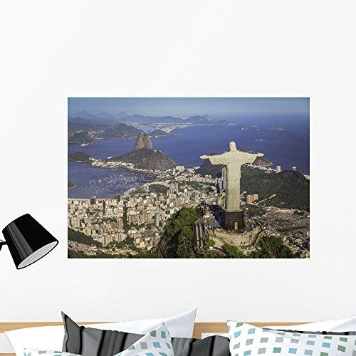 Wallmonkeys Rio Janeiro Brazil Aerial Wall Mural Peel and Stick Vinyl Graphic (36 in W x 24 in H) WM368683