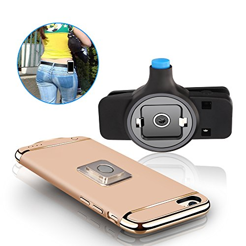Newest Fashion phone Belt Clip [Easy On/Off & Magnetic Mount], Universal holder for iphone X,8,8 Plus,7,7 plus, 6, 6s Plus, 5s, 5c, se and Samsung Galaxy S8 S7 S6 Edge, LG or Any Phone (Blue Leather Case Belt Clip)