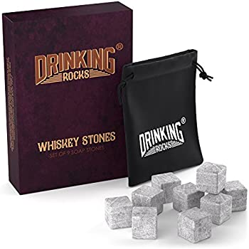Whiskey Stones - Chills Your Drink Without Dilution - Soapstone Chilling Stones - Perfect For Whisky Drinkers - Set of 9 Whiskey Rocks