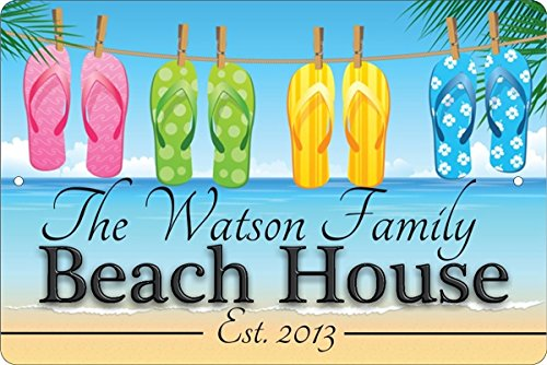 Beach House Personalized Customized Decorative aluminum sign