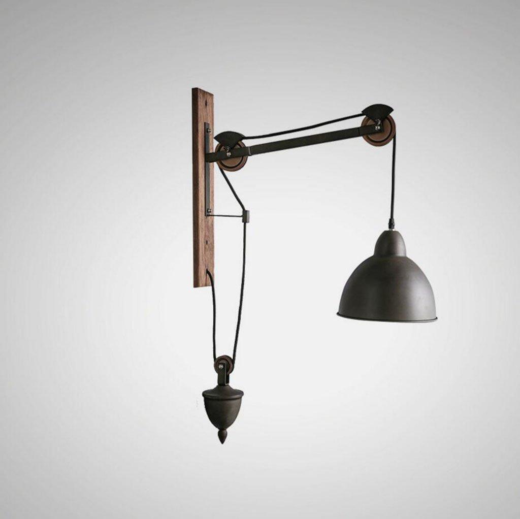 Lampada a muro Lampada da parete industriale in stile europeo con lampada a sospensione da bar in camera da letto con personalità creativa in legno