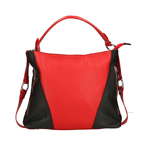 Chicca Borse Mujer de embrague bolso pequeño con correa para el hombro, patrón dólar, cuero auténtico Made in Italy - 26x16x6 Cm Negro rojo