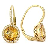 Citrine Gemstone & Accented Diamond Dangle-Earring Set In 14K Yellow-Gold