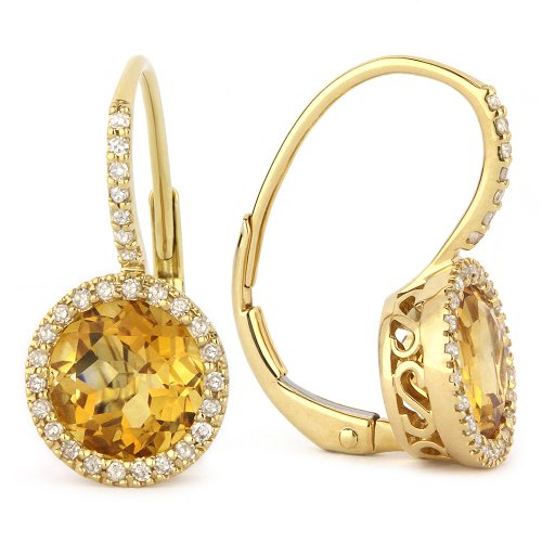 Citrine Gemstone & Accented Diamond Dangle-Earring Set In 14K Yellow-Gold by Eros' Iced Showroom