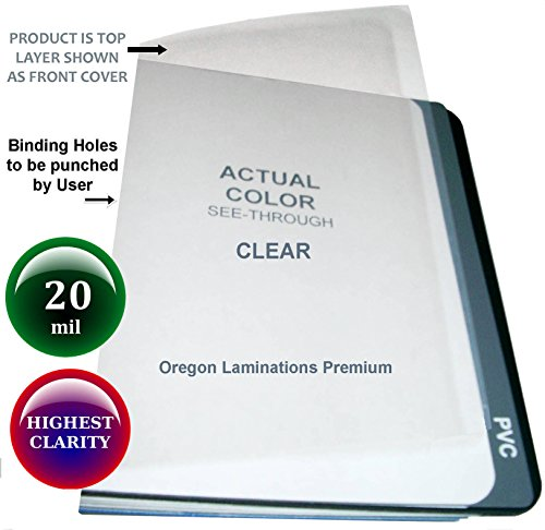 20 Mil Super Thick Clear Plastic Binding Covers Report Cover Sheets 8-1/2 x 11 Qty 25 (11 Unpunched 25 Covers)