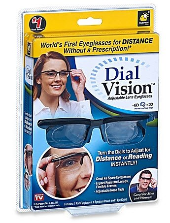Dial Vision Adjustable Lens Eyeglasses -6D 3D Free Eye Chart and Soft Eyeglass PouchTurn the Dials to Adjust for Men and Women