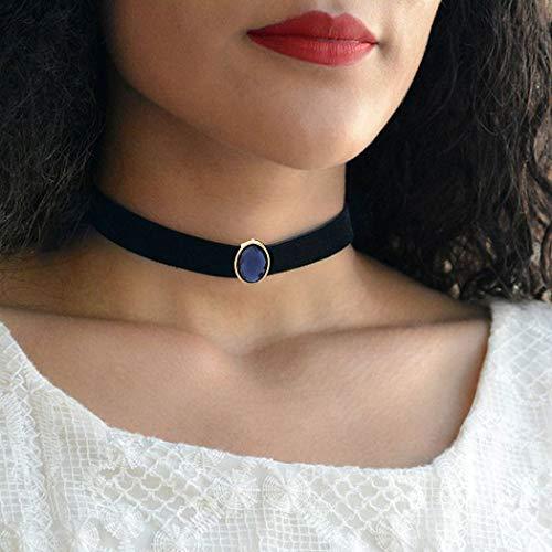 Aukmla Velvet Pendant Choker Necklaces Jewelry for Women and Girls (Black)