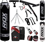 RDX Punching Bag for Boxing Training, Filled Heavy Bag Set with Punching Gloves, Chain, Wall Bracket, Great for Grappling, MMA, Kickboxing, Muay Thai, Karate, BJJ & Taekwondo, 14 pcs 5FT/4FT