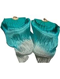 """1 Pair 1.5mx0.9m (59""""x35"""") Light Belly Dance 5 Mommes Silk Fan Veil"""
