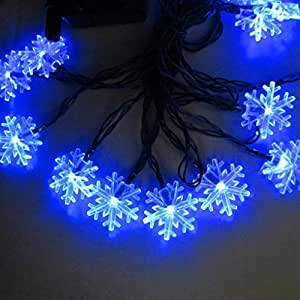 Funciona con energía solar resistente al agua cadena de luces, 20/30LED cadena luces de Navidad copo de nieve Bombilla Lámpara para decoración de tu hogar, jardín, boda
