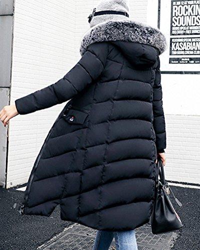 Trapuntata Donna Outwear E Warm Imbottita Nera Cappuccio Con Imbottitura Giacca Da Penggeng Parka Jacket Di PfAxAR