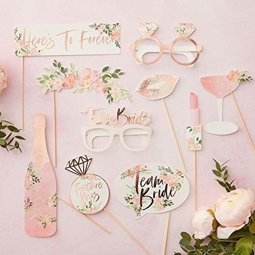 - Ginger Ray Floral Rose Gold Foiled Hen Party Photo Booth Props -10 Pack - Floral Hen Party, Multi