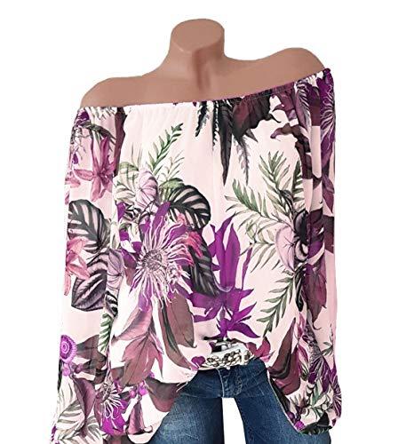 Femmes Tee T Blouse Automne Longues Bateau Manches Lache Shirt Printemps Mode Violet Imprime Tops et JackenLOVE Hauts Col Jumpers Chemisiers Casual gWn8twBT