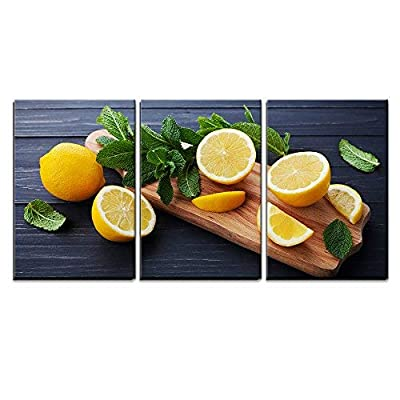 3 Piece Canvas Wall Art - Lemon and Mint Leaves Served on Wooden Kitchen Board on Black Rustic Table - Modern Home Art Stretched and Framed Ready to Hang - 16
