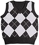 #1: Enimay Kids Knit Sweater Vest V-Neck Argyle Pattern Pullover