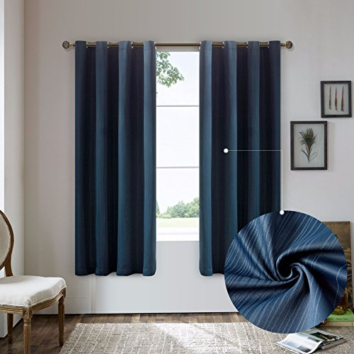 Nicasso Natural All Blackout Vertical Stripe Grommet Single Curtain Panel Thermal Insulated Solid Window Drapery(Blue,W52 x L63)