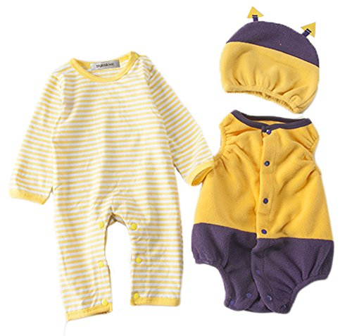[StylesILove Chic Halloween Baby Boy 3-PC Costume Set With Hat (6-12 Months, Bee)] (Chic Costumes)