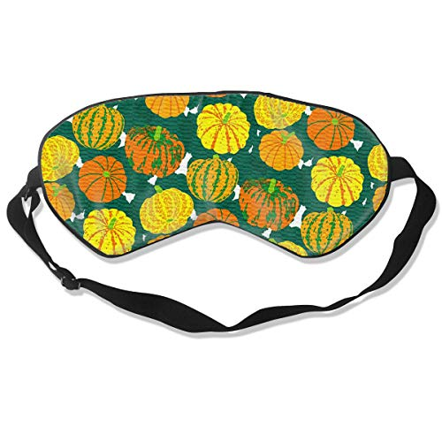 BLDBZQ Sleep Eye Mask Pumpkin Pattern Halloween Silk Mask with Adjustable Head Strap Block Light Nap Blindfold