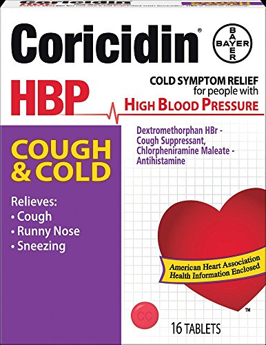 Coricidin HBP, Decongestant-Free Cold Symptom Relief for People with High Blood Pressure, Cough & Cold Tablets, 16 Count (Best Decongestant For High Blood Pressure)