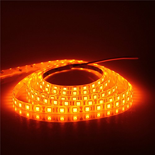 ALITOVE 16.4ft 5050 SMD Orange LED Flexible Strip Light lamp 5M 300 LEDs Waterproof IP65 12V DC for home hotels clubs shopping malls cars (Orange Led)