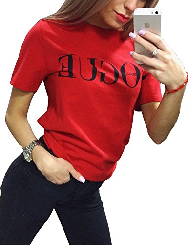 FV RELAY Womens Black Short Sleeve Letter Print T-Shirt Casual Teen Girls Tee Tops (S, Red)