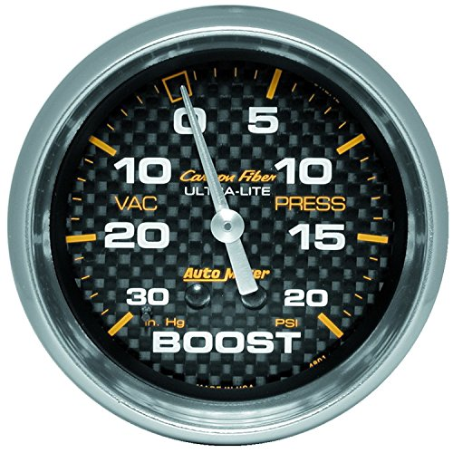 Auto Meter 4801 Carbon Fiber Mechanical Boost/Vacuum Gauge Carbon Fiber Mechanical Boost